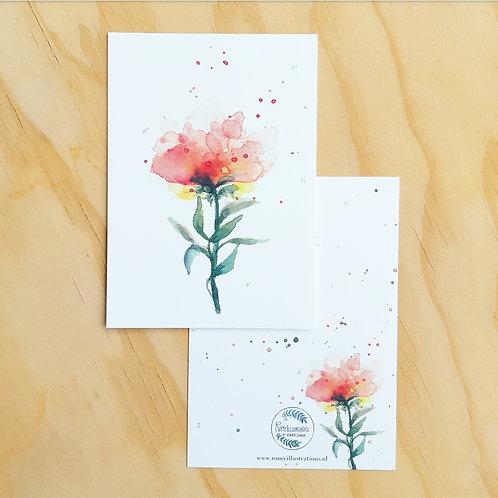 'Lichtroze roos' Ansichtkaart A6