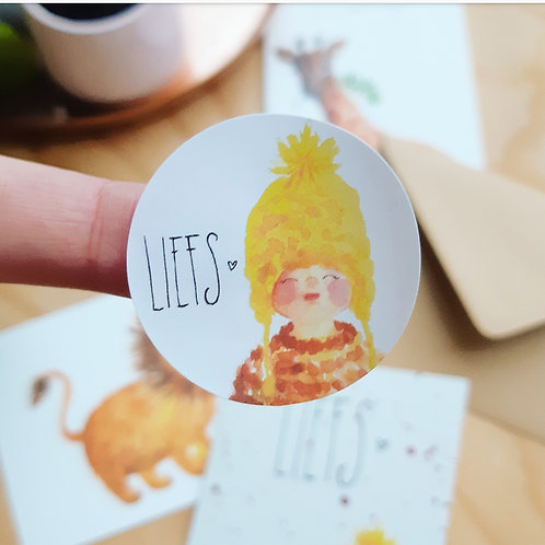 'Liefs' Sticker rond per 4 stuks