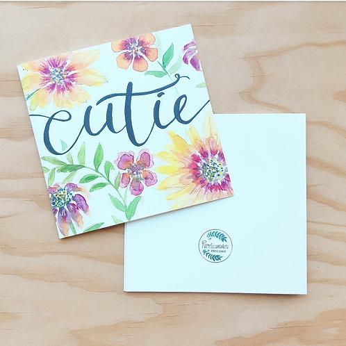 'Cutie floral' Gevouwen kaart vierkant