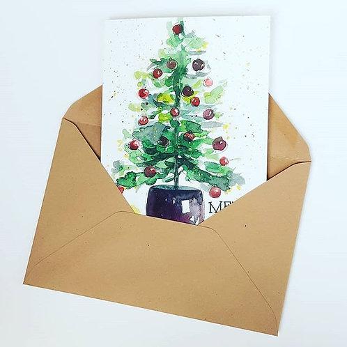 'Merry christmas tree' Gevouwen kaart A6