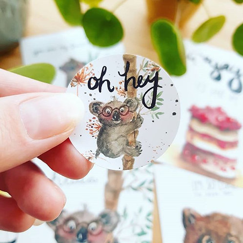 'Koala Oh hey!' Sticker rond per 4 stuks