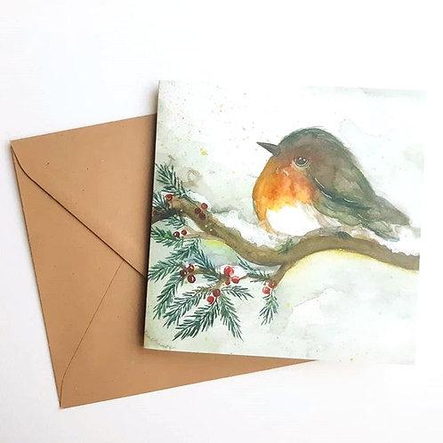 'Winterbird blanco' Gevouwen kaart vierkant