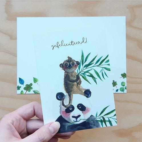 'Panda en stokstaartje gefeliciteerd' Gevouwen kaart A6