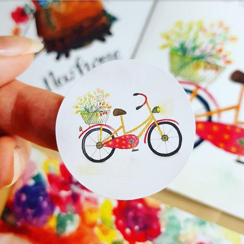 'Fietsje' Sticker rond per 4 stuks