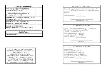 Certificado Formação Psicanalítica - Teó
