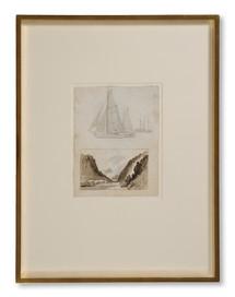 Frans Johan Roselli (1833–1868) - Tre båtar. Studie. (Och) Vägen.