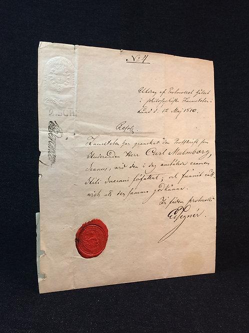 Tegnér: Egenhändigt protokollsutdrag, 1810