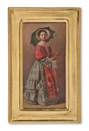 Josef Wilhelm Wallander (1821-1888) - Ung dam med parasoll (i ett sällskap från Säfstaholm) - (sold)