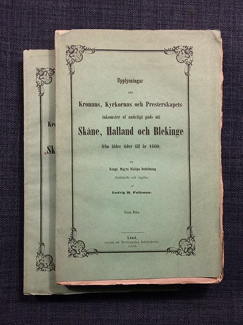 Andeligt gods uti Skåne, Halland och Blekinge till 1660