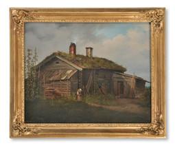Joseph Magnus Stäck (1812-1868) - Kvinna med barn utanför en torp[ar]stuga, 1838