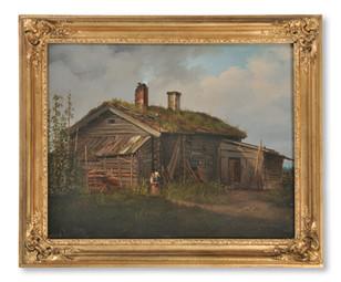 Stäck, Joseph Magnus (1812-1868): Kvinna med barn utanför en torp[ar]stuga - (sold)