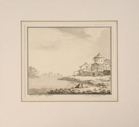 Jonas Carl Linnerhielm (1758–1829) - Idyll med fiskare i förgrunden och en liten slottsruin - (sold)