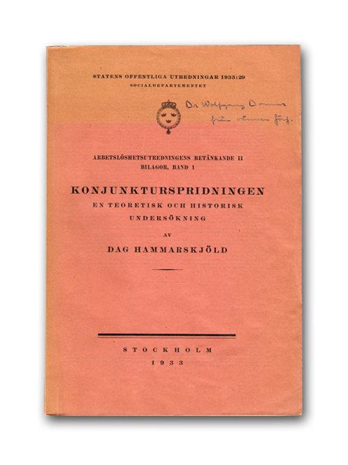 Dag Hammarskjölds avhandling, med dedikation