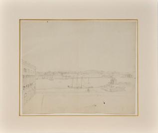Jonas Carl Linnerhielm (1758-1829) - Utsikt mot Skeppsholmen från Logården på Stockholms slott, 11 april 1787
