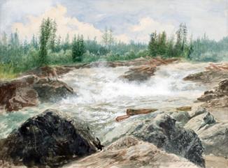 Josef Wilhelm Wallander (1821-1888) - Åkvissleforsen, Ångermanälven, detalj - (sold)