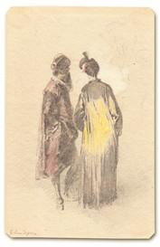 Egron Lundgren (1815–1875) - Par i eleganta dräkter, detalj