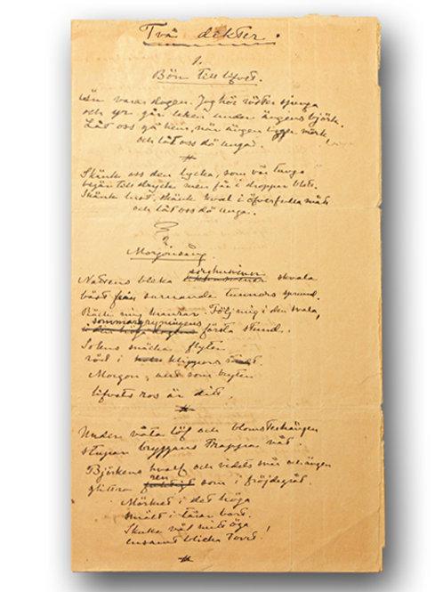 Heidenstam: Egenhändigt manuskript