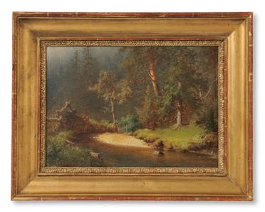 Per Daniel Holm (1835-1903) - Skogsglänta vid vattendrag, 1863 - (sold)