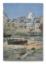 Josef Wilhelm (William) Féron (1858-1894) - Nordfransk fiskehamn vid ebb (Dieppe)