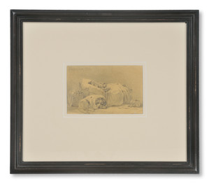 Per Wickenberg (1812-1846) - Sovande flicka. Hunden vilar intill - (sold)