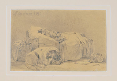 Per Wickenberg (1812-1846) - Sovande flicka. Hunden vilar intill, detalj - (sold)