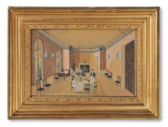 Okänd konstnär - Villa Bokedalen, Jonsered. Familjen Oterdahl runt middagsbordet, c. 1815 - (sold)