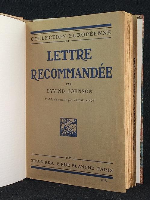 Eyvind Johnson: Lettre recommandée