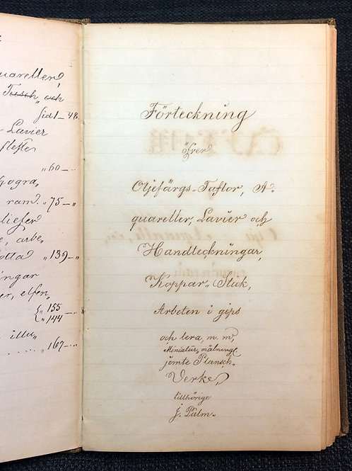 Handskriven konstkatalog