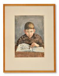 Arvid Fougstedt (1888-1949) - Erik läser Degas-boken - (sold)