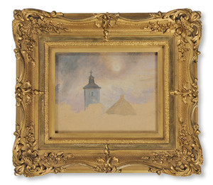 Kilian Zoll (1818–1860) - Molnstudie, eller Kyrktorn i månsken - (sold)