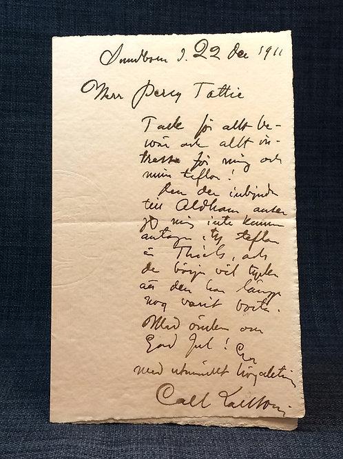 Carl Larsson Egenhändigt brev Autograph holograph letter