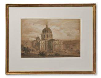 Gustaf Wilhelm Palm (1810-1890) - Rom med Peterskyrkan - (sold)