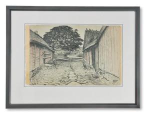 Nils Kreuger (1858–1930) - Bygata i Apelvik vid Varberg - (sold)
