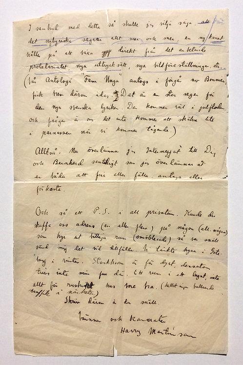Harry Martinson: Egenhändigt brev, 1929