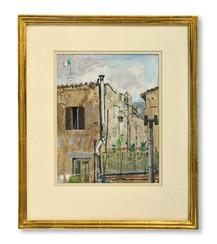 Nisse Zetterberg (1910-1986) - Rumsutsikt från Rom - (sold)