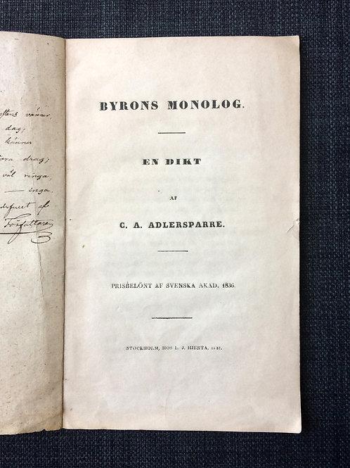 Dedikation av Adlersparre, 1837