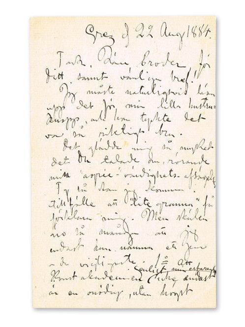 Carl Larsson: Egenhändigt brev från Grez, 1884