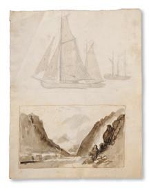 Frans Johan Roselli (1833–1868) - Tre båtar. Studie. (Och) Vägen, detalj