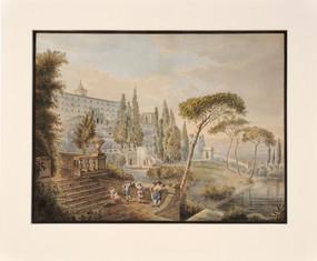 Lars Jacob von Röök (1778-1867) - Tivoli. Musik och dans i Villa d'Este - (sold)