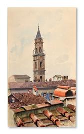 Wilhelm von Gegerfelt (1844-1920) - Hustak och kyrktorn i Genua - (sold)