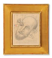 Otto G. Carlsund (1897-1948) - Självporträtt. Tillägnat konstnärskollegan Thorwald Alef - (sold)