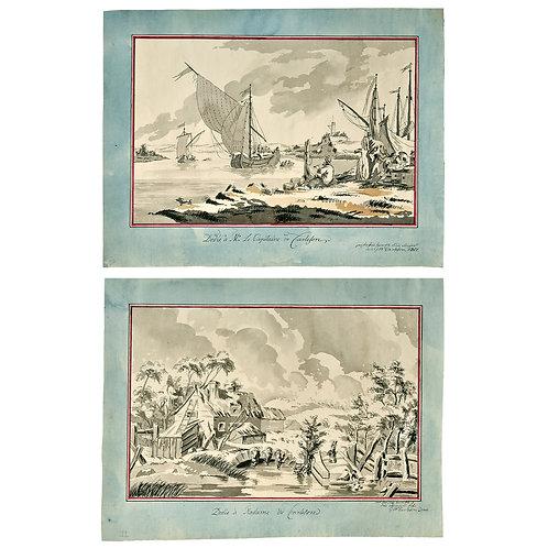 Gustaf Wilhelm Carleson:Ett par laveringar, 1801, proveniens Odensviholm