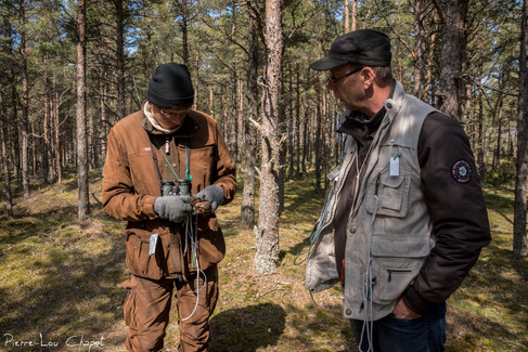 """The two ringers, here Kim and Lauri, have on them all the equipment necessary for the ringing and the biometric measurements of birds. An ingenious """"all-purpose"""" jacket makes it easy and quick to use the various tools required for handling: pliers, rings, measuring tools, pens and booklets, etc."""