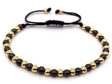 Bracelet Macramé Perles Black & Gold - TM0065