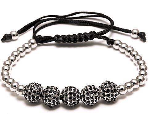 Bracelet Macramé Strass Silver - TM0059
