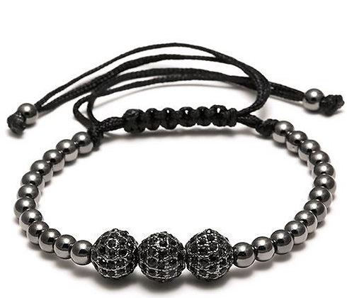 Bracelet Macramé Strass Black- TM0060
