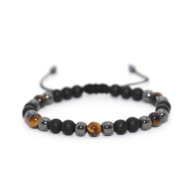 Bracelet Macramé Oeil de Tigre Hématite Onyx - TM0100