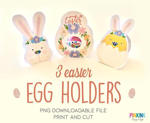 Easter Chocolate Egg Holder Set of 3. Digital downloadable file
