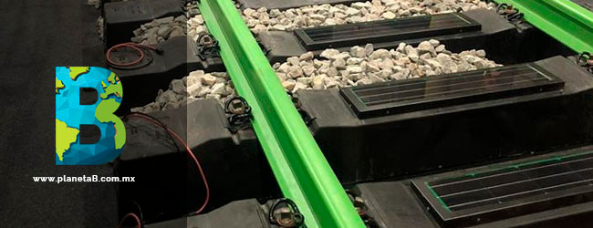 Greenrail durmientes con paneles solares