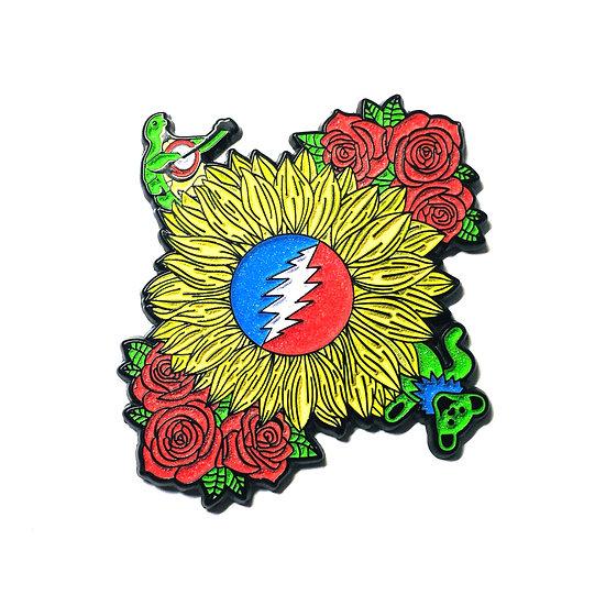 Grateful Dead Sunflower Glow in the Dark Hat Pin